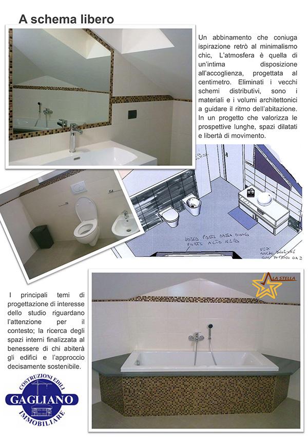 Il bagno: bagno con soffitto ad altezza non uniforme, sanitari ...